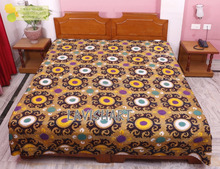Floral Hand Block Printed Kantha Quilt, Patchwork Cotton Bedspread, Queen