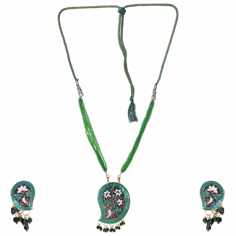 Etnic look meenakari necklace set