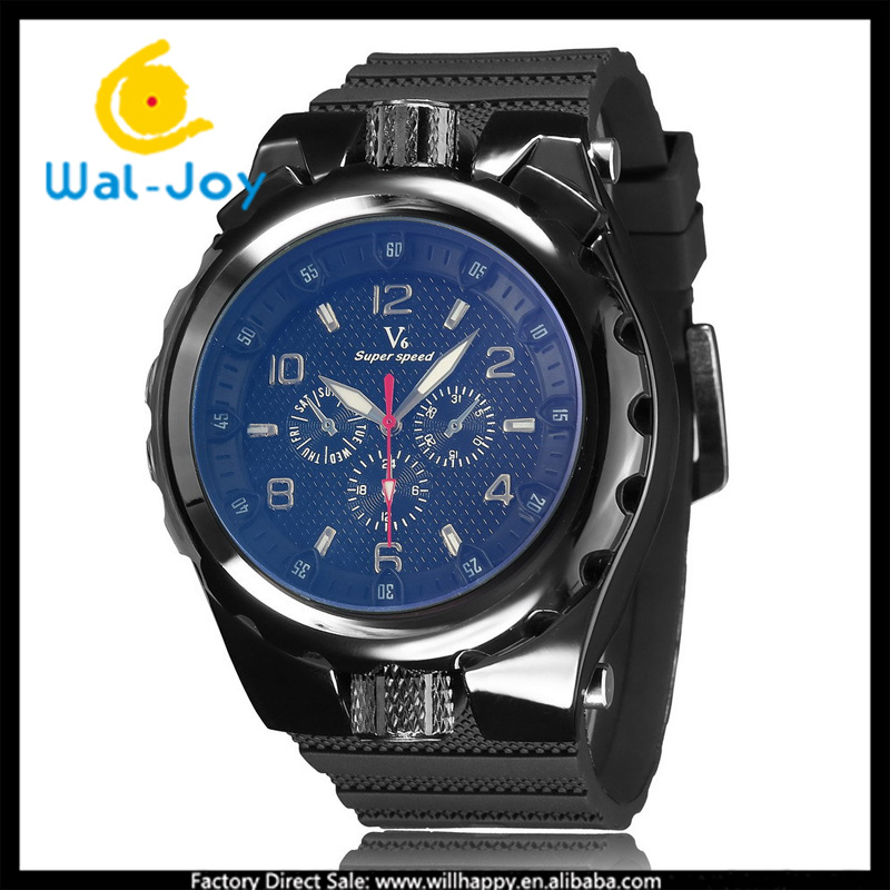 WJ-5303 2016 newest attractive silicone simple outdoor student V6 brand wrist men watch