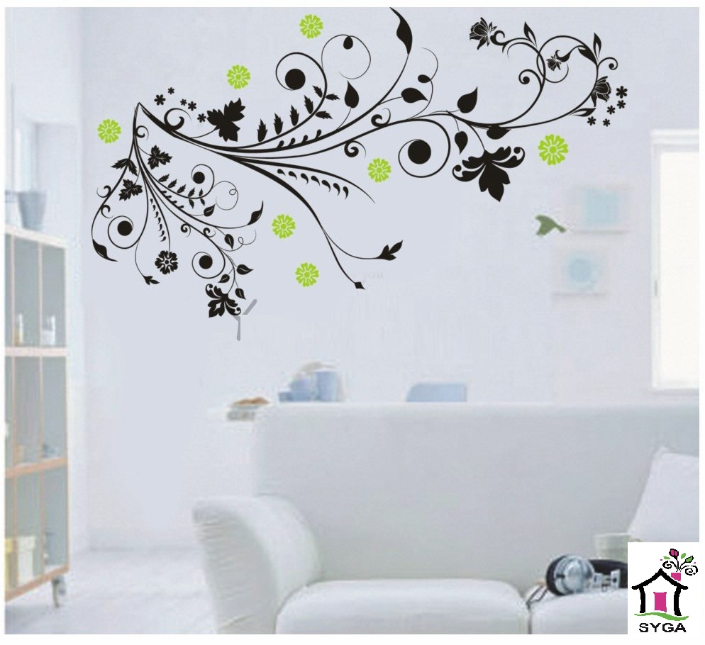 SYGA BLACK BRANCHES & GREEN FLOWER WALL STICKERS