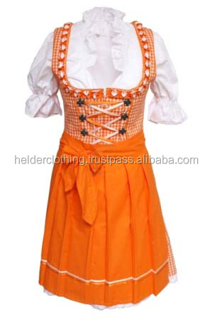 1Pc Orange cotton and check Dirndl Custom Design Trachten Oktoberfest Bavarian Traditional Dirndl Dress For Women