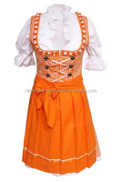 1Pc Orange cotton and check Dirndl Custom Design Trachten Oktoberfest Bavarian Traditional Dirndl For Women