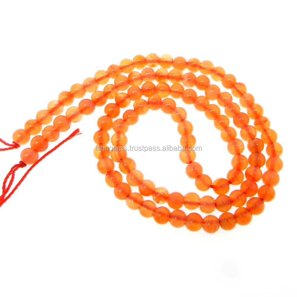 Semi Precious Beads For Jewelry Making - 16 inch Length Gemstone 4mm plain - Peach Moonstone Beads