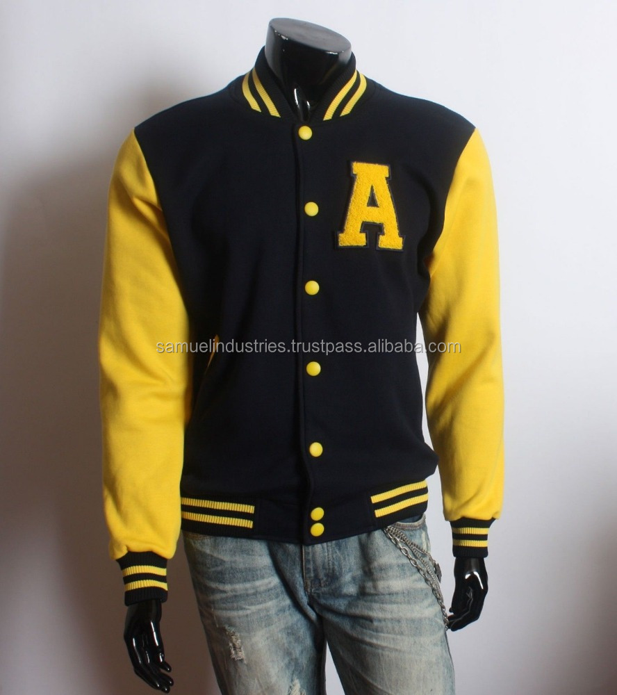 Men's Varsity A Letterman College Solid Cotton Baseball Varsity Jacket\ Two tone wool varsity college style jackets