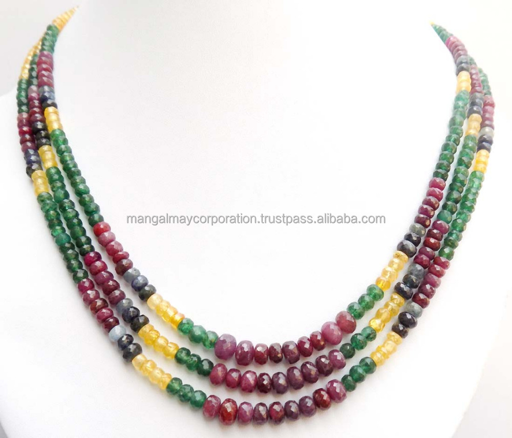 AAA quality multi gemstone beaded necklace Real Gemstone beads necklace
