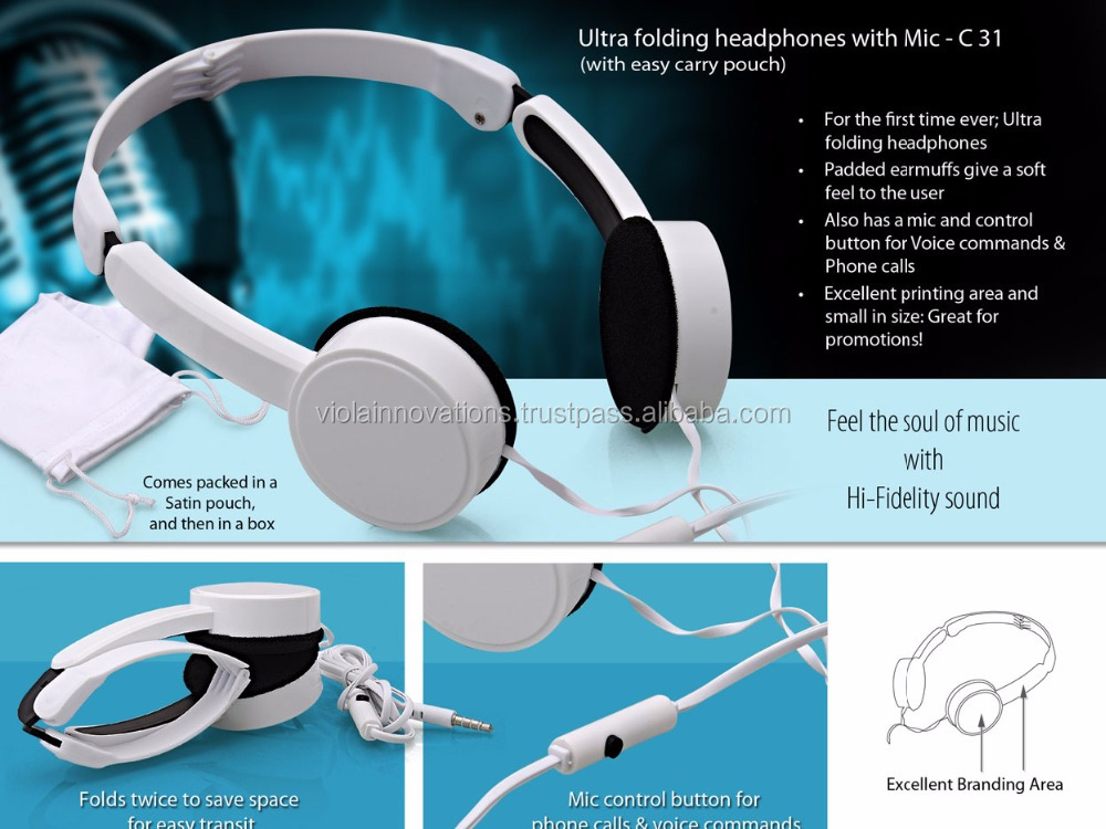corporate gifts headphones with mic advertising giveaways