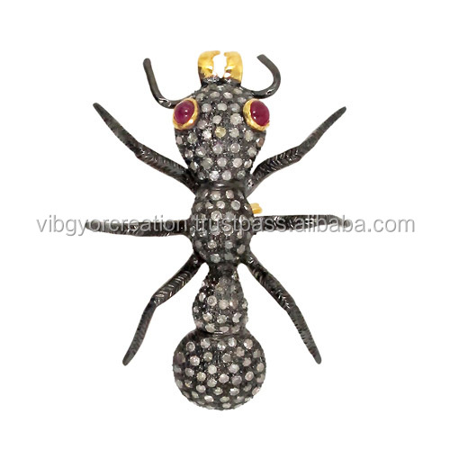2017 New Ant Pave diamond brooch finding jewelry wholesale 925 sterling silver 14k gold gemstone ruby fashion brooch