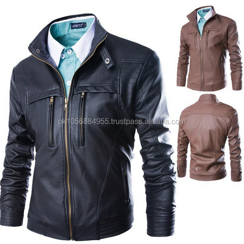 The New 2015 Leather Jackets For Men Leather Fashion Mens Leather Jacket Collar Fur Clothing 4xl