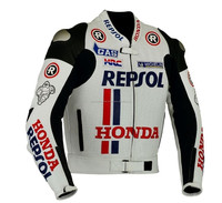 HONDA REPSOL WHITE MOTORBIK LEATHER JACKET CE-APPROVED FULL-PROTECTION