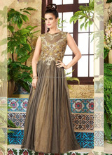 Designer evening gown for women - Net sleeveless long part wear gown - Gown supplier in surat