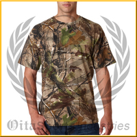 Woodland Camouflage 100% Cotton Knitted Army Military Summer Hunting T-shirt