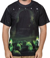 100% Polyester Half Sleeves Sublimated Men T-Shirt with Alien design