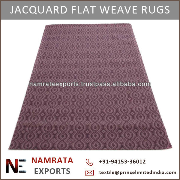 Canvas Backed Flat Weave Zig Zag Design Jacquard Wool Rugs