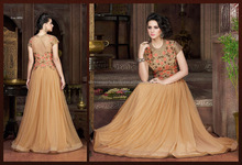 Net Designer Gown in Beige/latest gown designs/wholesale gown