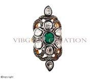 Vintage rose cut gemstone pave diamond 925 sterling silver 14k gold emerald gemstone ring