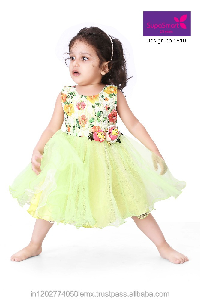 YELLOW FLORAL BABY GIRLS FROCK FROM INDIA OEM SERVICE