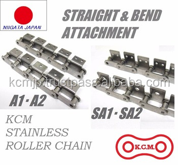 Maintenance-free stainless steel roller chain for agricultural processing machines