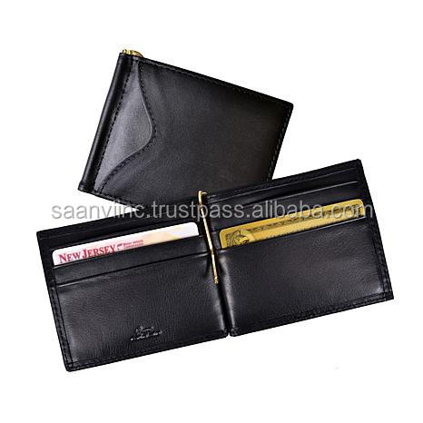 Manufacturer of Real Leather Money Clip Wallet