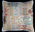 "Indian off white TOSS PILLOW CUSHION COVER EMBROIDERED Gift India COLORFUL Decor THROW Art 16"" vintage Home Decor"