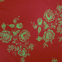 "40"" Wd Floral Fabric Cotton Poplin Sewing Red Dress Drape Art By India FBC3020"