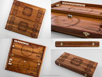 Wooden set for playing backgammon