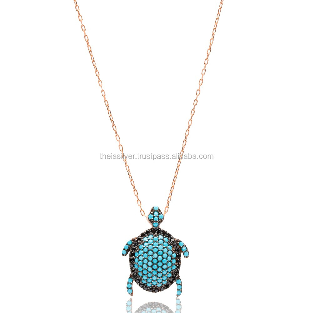 Turkish Wholesale 925 Silver Sterling Turtle Nano Turquoise Ghost Pendant