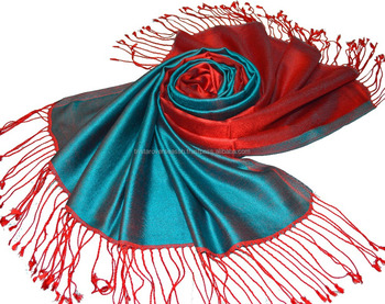 double solid color silk scarf in reversible style two tone