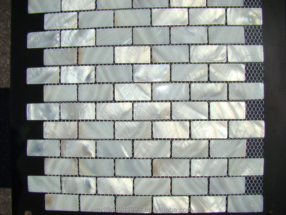 """ OYSTER "" mother of pearl white brick backsplash shell mosaic tile wall tiles"