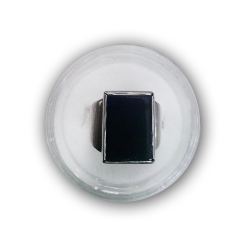 925 Sterling Silver Ring With Black Square Aqeeq Stone