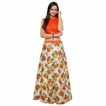 Lovely Off White Colored Printed Art Silk Festival Lehenga Choli Without Dupatta