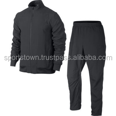2014 black basketball tracksuit wholesale for men / Good quality mens black microfiber tracksuit