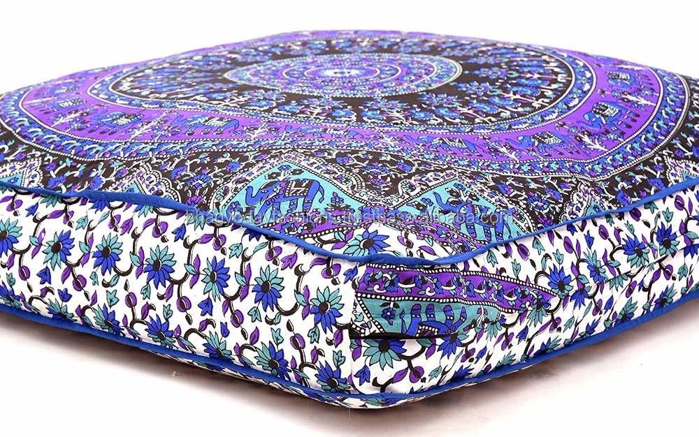 Elephant Mandala Floor Pillow Square Ottoman Pouf Daybed Oversized Cushion Cover Sofa Indian Throw luxury Pet Dog Beds