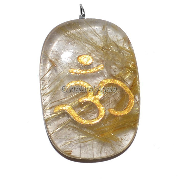 Engraved Golden Rutile Quartz Om Pendant