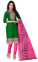 Women's Green & Pink Colour Straight Cotton Chudidar Style Salwar Kameez / Party Wear Embroidered Churidar