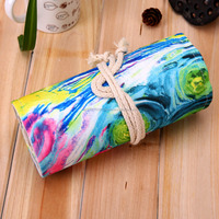 36/48/72 Hole Wrap Canvas Roll Up Pencil Case Pen Brush Bag Holder Storage Pouch School Office Supplies