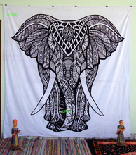 Large Elephant Indian Cotton Mandala Tapestry