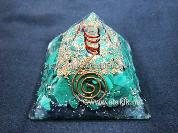 Malakite Orgone Pyramid with Copper Coil : Ogonite Pyramids