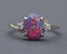 falak gems Rare Purple Fire Opal CZ Gemstone Ring,Lab Created Purple Opal Ring,Sterling Silver Opal Ring,