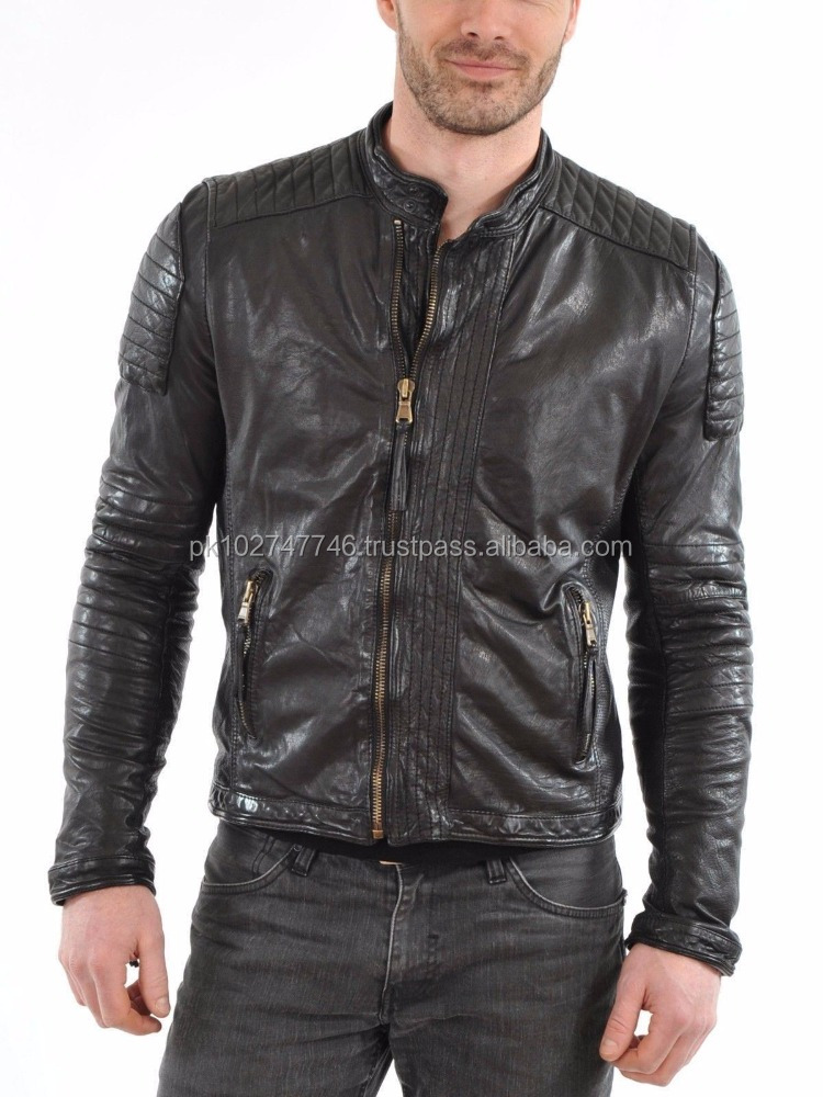 New Mens Quilted motorcycle Black Lambskin Leather Jacket
