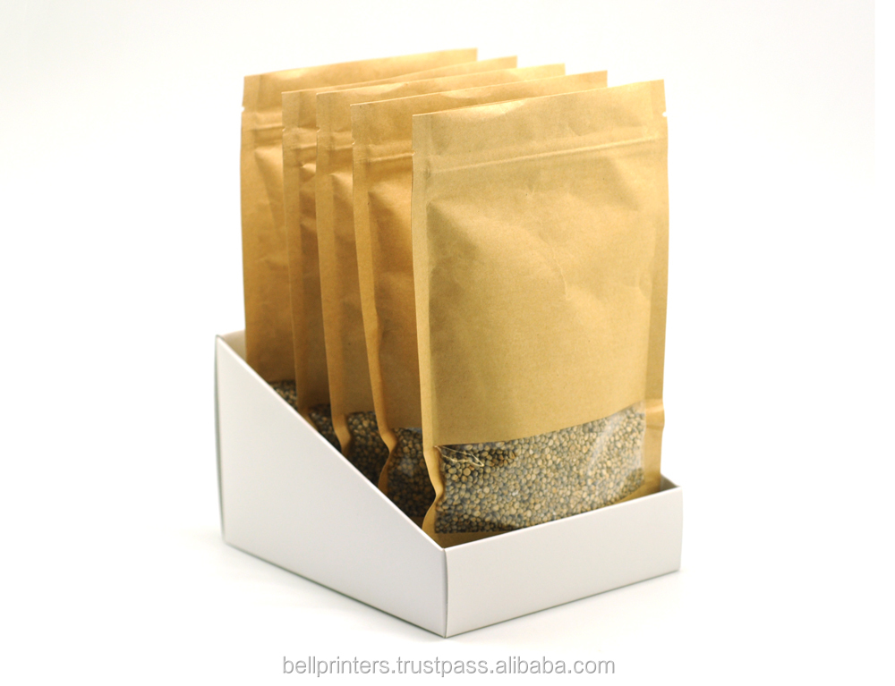 Ziplock Kraft Paper Food Bag with Window Cut