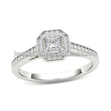 1/2 CT. T.W. Princess-Cut Diamond Octagonal Fram Wedding Rings Sets Cheapest Place To Buy Diamonds Engagement Ring Set