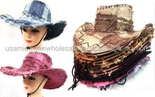 Plaid Cowboy Fringe Hats Assorted