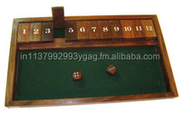 Christmas Present - Handmade Wooden Shut the Box Game with 2 Dice for Kids
