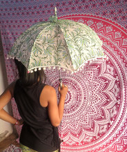 Cotton Hand Block Printed Umbrella Sun Protection Beach Umbrella