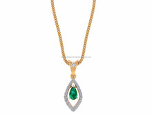 Big Girls Need Big Jewelry Round Certified Diamond 14k Yellow Gold Natural Pear Cut Emerald Gemstone Pendant For Party