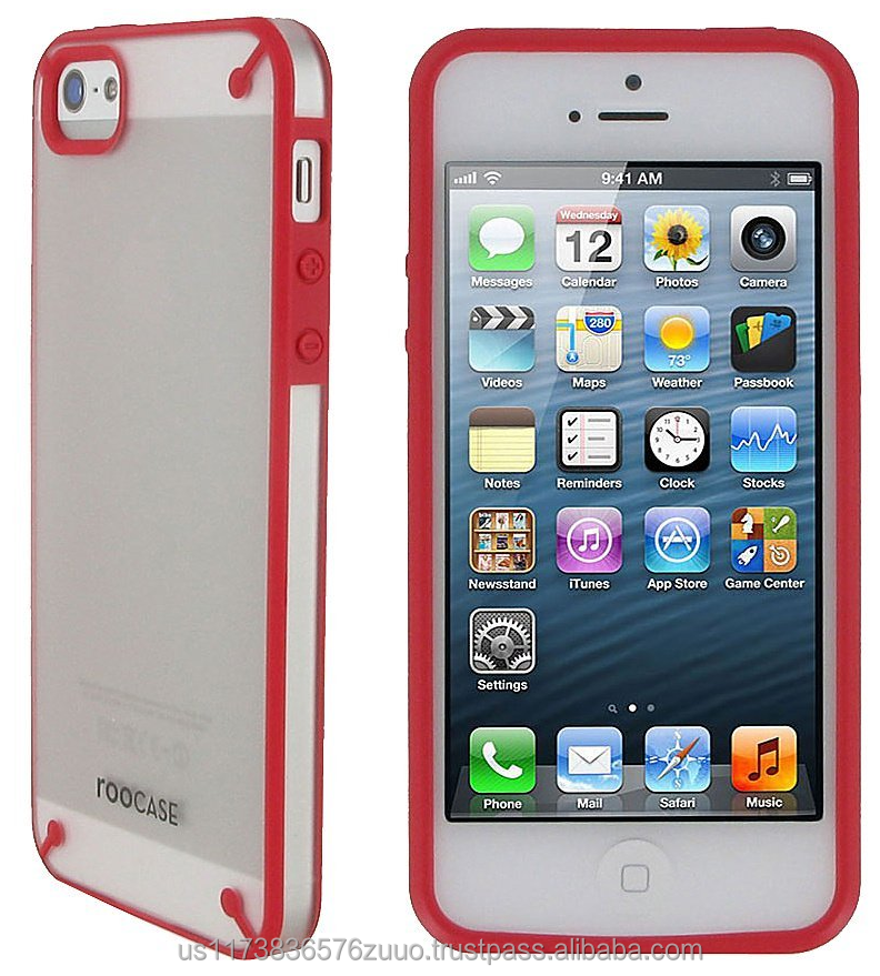SL Fuse Slim Snap on Shell Case ABS polycarbonate plastic shell cover Impact Protection for iPhone 5 5s roocase (Red/Frost)