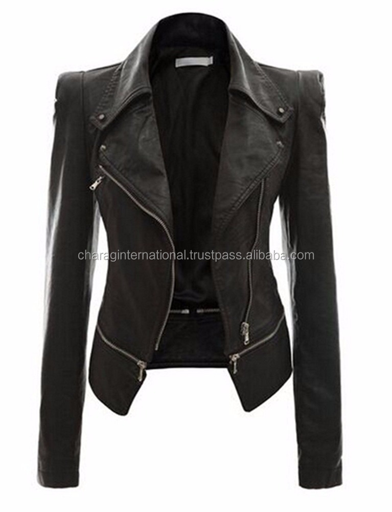 High Quality Oem Manufacturer Fashion Women Leather Biker Clothes Wholesale Black Girls Leather Jackets