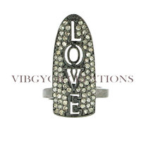 Attractive Male Ring Pave Diamond Silver Lovely Ring ,Special Love letters 92.5 Sterling Silver Pave Nail Ring