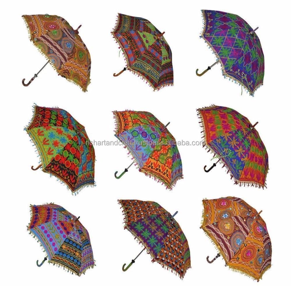 Baumwolle sonnenschirm designer indische gestickte for Indische schirme