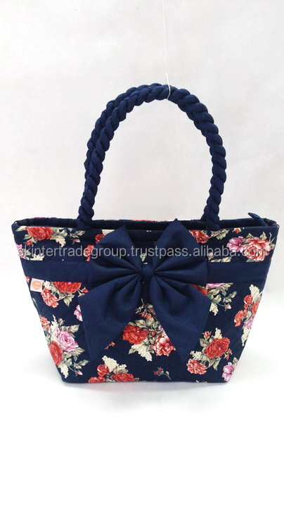 adorable printed quilting cotton handbag rose flower printed on canvas fabric model 302S-001